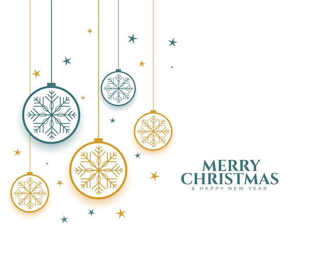 Merry christmas baubes and snowflakes decorative background