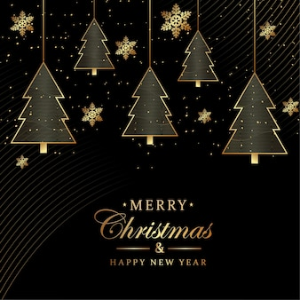 Счастливого рождества bckground с роскошным фоном с золотыми снежинками фоном дерева