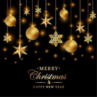 С рождеством христовым фон с роскошными золотыми снежинками и черным фоном