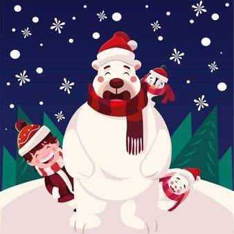Счастливого рождества, медведь, мальчик, пингвин и кролик, зимний сезон и тема украшения