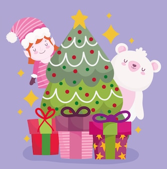 メリークリスマスクマヘルパーツリーとギフトの装飾とお祝いのイラスト