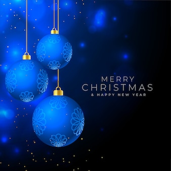 Merry christmas beautiful background with hanging baubles