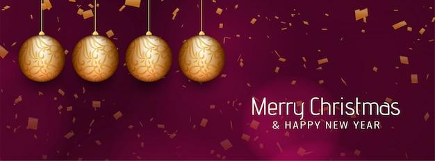 Merry christmas beautiful banner with christmas balls