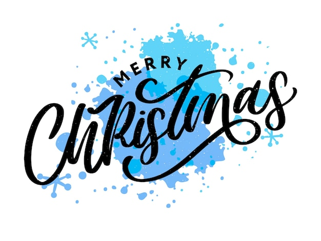 Merry christmas  beautiful greeting card poster with calligraphy black text word. hand drawn  elements.