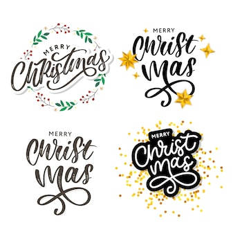 Merry christmas beautiful greeting card poster with calligraphy black text word.