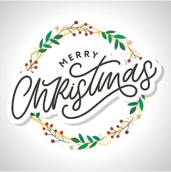 메리 크리스마스 서 예 검정 텍스트 단어로 아름 다운 인사말 카드 포스터.