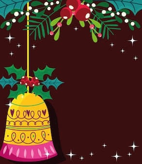 Merry christmas bells holly leaves and christmas celebration