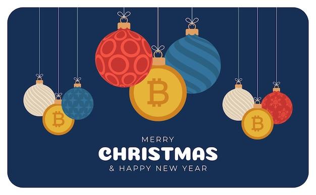메리 크리스마스 bitcoin 기호 배너입니다. 비트 코인 기호는 크리스마스 값싼 물건 공 매달려 인사말 카드입니다. 크리스마스, 금융, 설날, 은행, 돈에 대 한 벡터 이미지