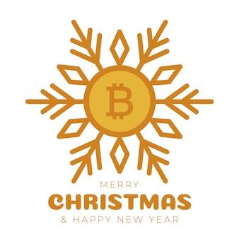 Счастливого рождества биткойн символ баннер. биткойн знак как рождественский шар безделушки висит поздравительная открытка. векторное изображение на рождество, финансы, день нового года, банковское дело, деньги