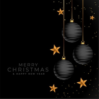 Счастливого рождества черный и золотой элегантный дизайн фона