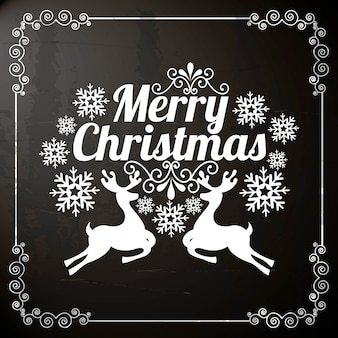 Merry christmas  over black background  vector illustration