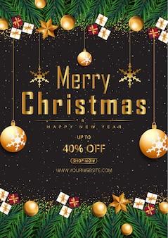 輝く点と金色の星と泡とメリークリスマス黒の背景ベクトル