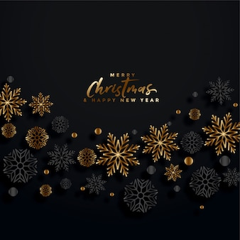 Merry christmas black and gold festival card