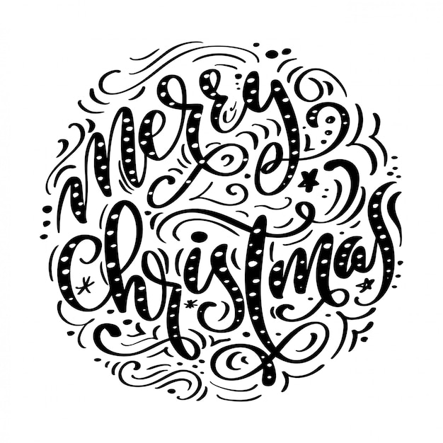 Merry christmas black handwritten text. hand drawn calligraphy