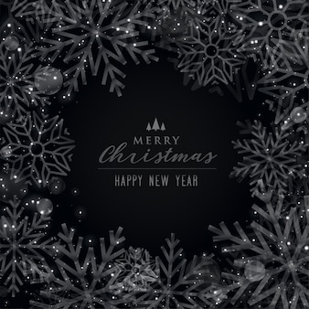 Merry christmas black theme snowflakes background