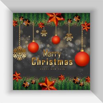 現実的なクリスマスの要素を持つメリークリスマスblackposterプレミアムベクトル