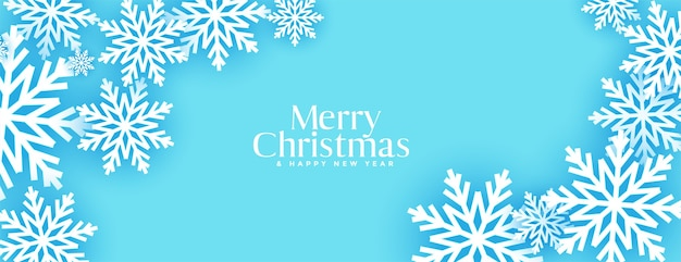 Merry christmas blue 3d snowflakes banner design