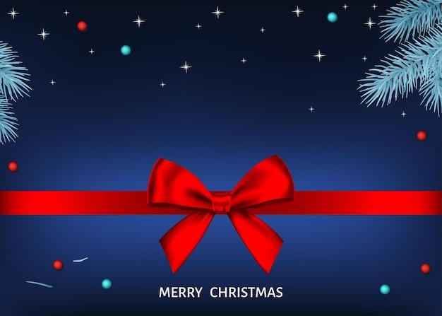 С рождеством христовым синий фон с красной подарочной лентой и серебряной еловой веткой