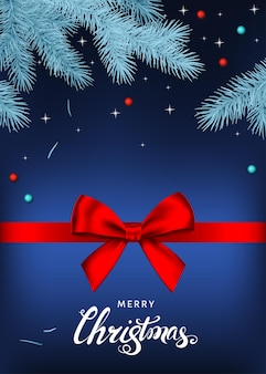 Merry christmas blue background with red  gift bow, ribbon  and silver spruce branch. xmas lettering. winter holiday decoration. vector greeting card template.