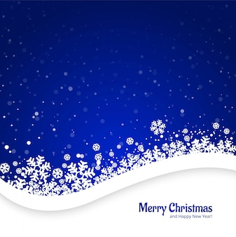 Merry christmas blue background with snowflakes design