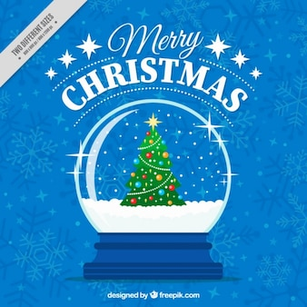 Merry christmas blue background with snowglobe with christmas tree