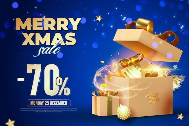 Счастливого рождества синий баннер с подарочной коробкой и элементами рождественского украшения
