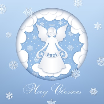 Merry christmas blue design. front view angel  and paper cut clouds, snowflakes