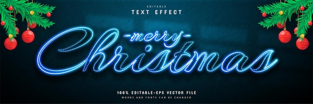 Merry christmas blue neon text effect
