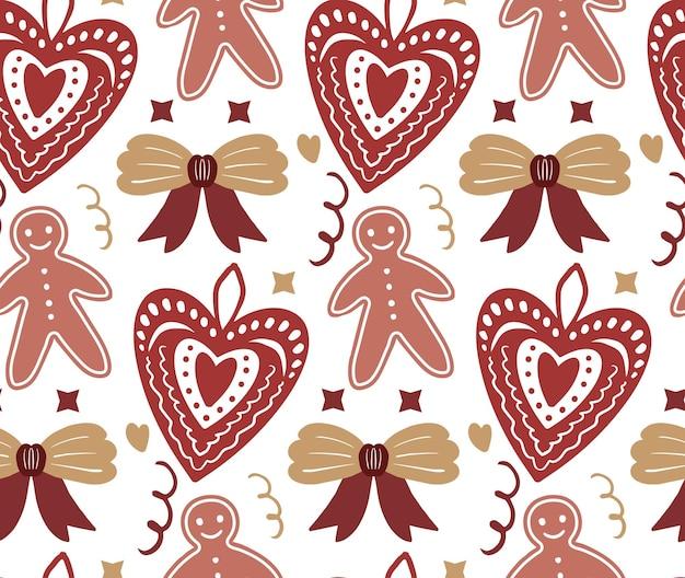 メリークリスマス自由奔放に生きるシームレスなパターン。ボヘミアン冬の休日繰り返しテクスチャ手描きスタイル。ジンジャーブレッド、雪片、クリスマスツリー。ベクトルイラスト。
