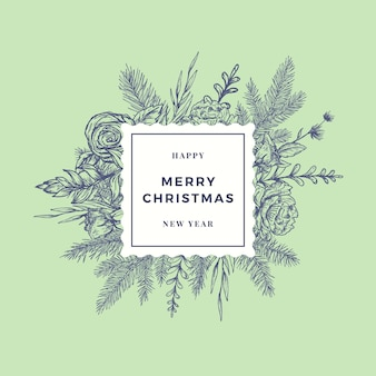 メリー クリスマス ボタニカル カード Premiumベクター