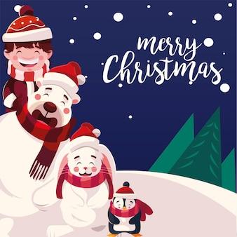 Счастливого рождества мальчик медведь пингвин и кролик в зимнем пейзаже иллюстрации