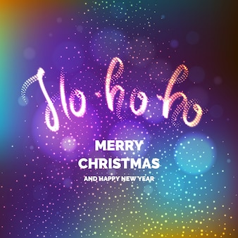 Merry christmas. bright poster with an inscription and a snowy background.