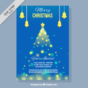 Merry christmas brochure with stars tree Vector | Free Download