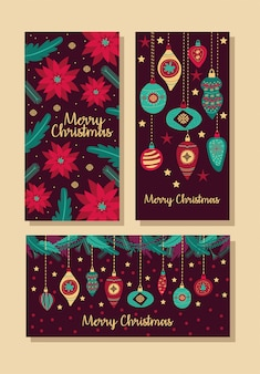 Merry christmas bundle of cards vector illustration design