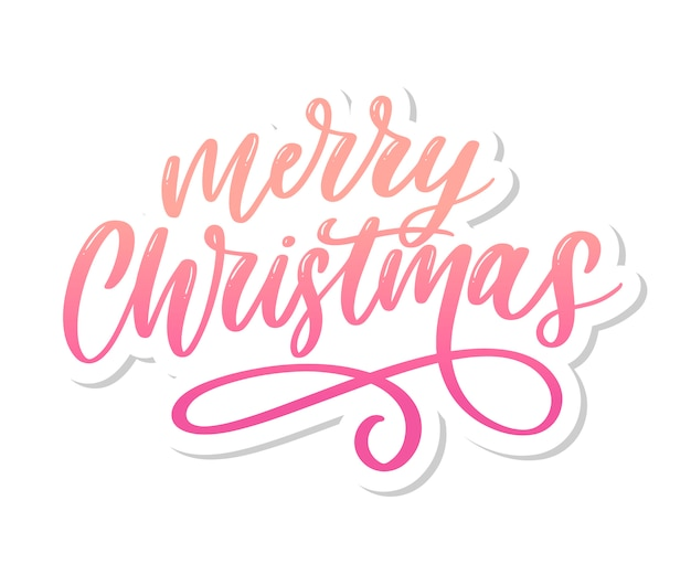 Merry christmas calligraphic inscription decorated lettering text
