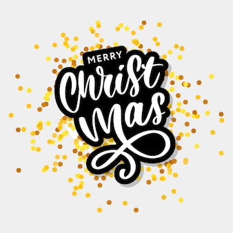 Merry christmas calligraphic inscription decorated with golden stars and beads