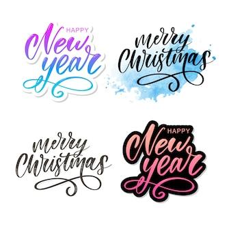 Merry christmas calligraphic inscription