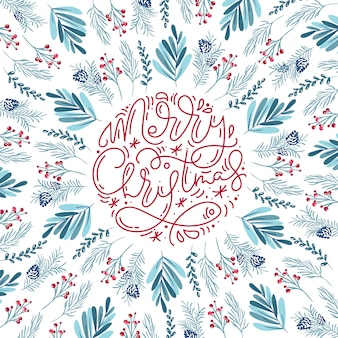 Merry christmas calligraphic lettering background