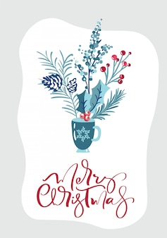 Merry christmas calligraphic lettering hand written text. greeting card