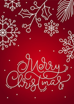 Merry christmas calligraphic lettering hand written  text. red xmas greeting card