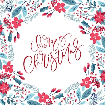 Merry christmas calligraphic lettering hand written vector text. greeting card