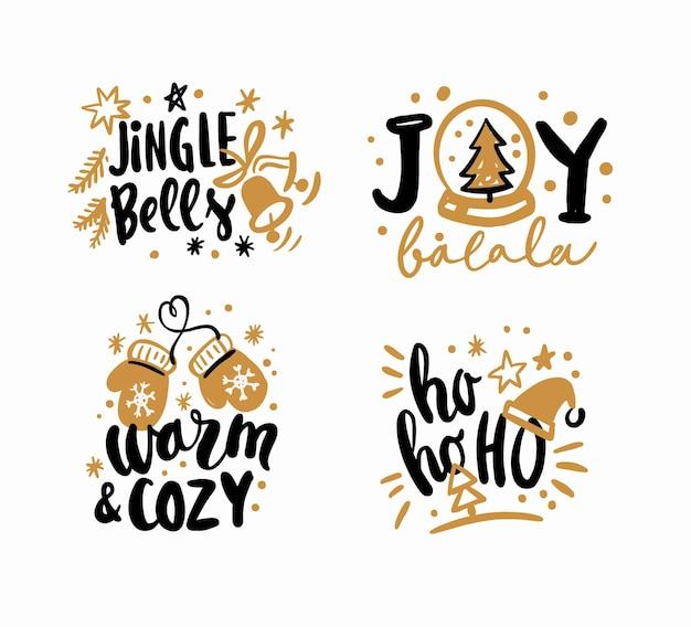 С рождеством христовым набор карточек дизайна текста каллиграфической надписи.
