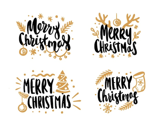 Merry christmas calligraphic lettering text design cards set.