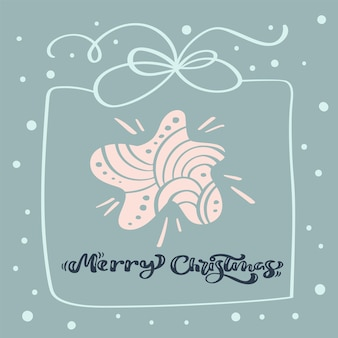 메리 크리스마스 붓글씨 텍스트입니다. 크리스마스 스타, 프레임 상자 및 기타 요소가 있는 크리스마스 배경. 벡터