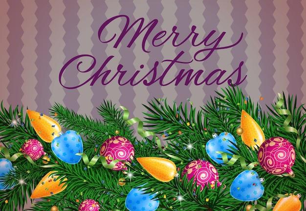 メリークリスマスの書道と装飾