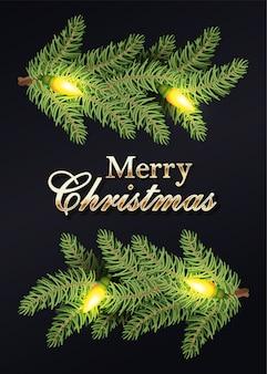 Счастливого рождества, каллиграфия золотых и венок, листья и луковицы