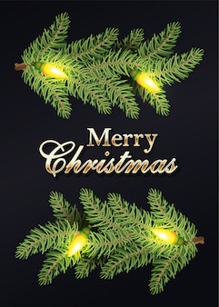 Merry christmas calligraphy golden and wreath leafs and bulbs