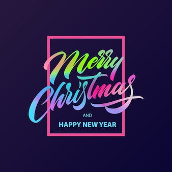 Merry christmas calligraphy lettering in fluid neon color
