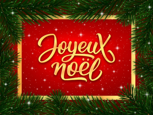 Merry christmas calligraphy text in french