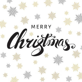 Merry christmas calligraphy with golden  snowflakes on white  background. vector greeting  card.